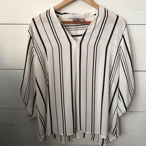Chicos Chiffon Striped Dress Shirt
